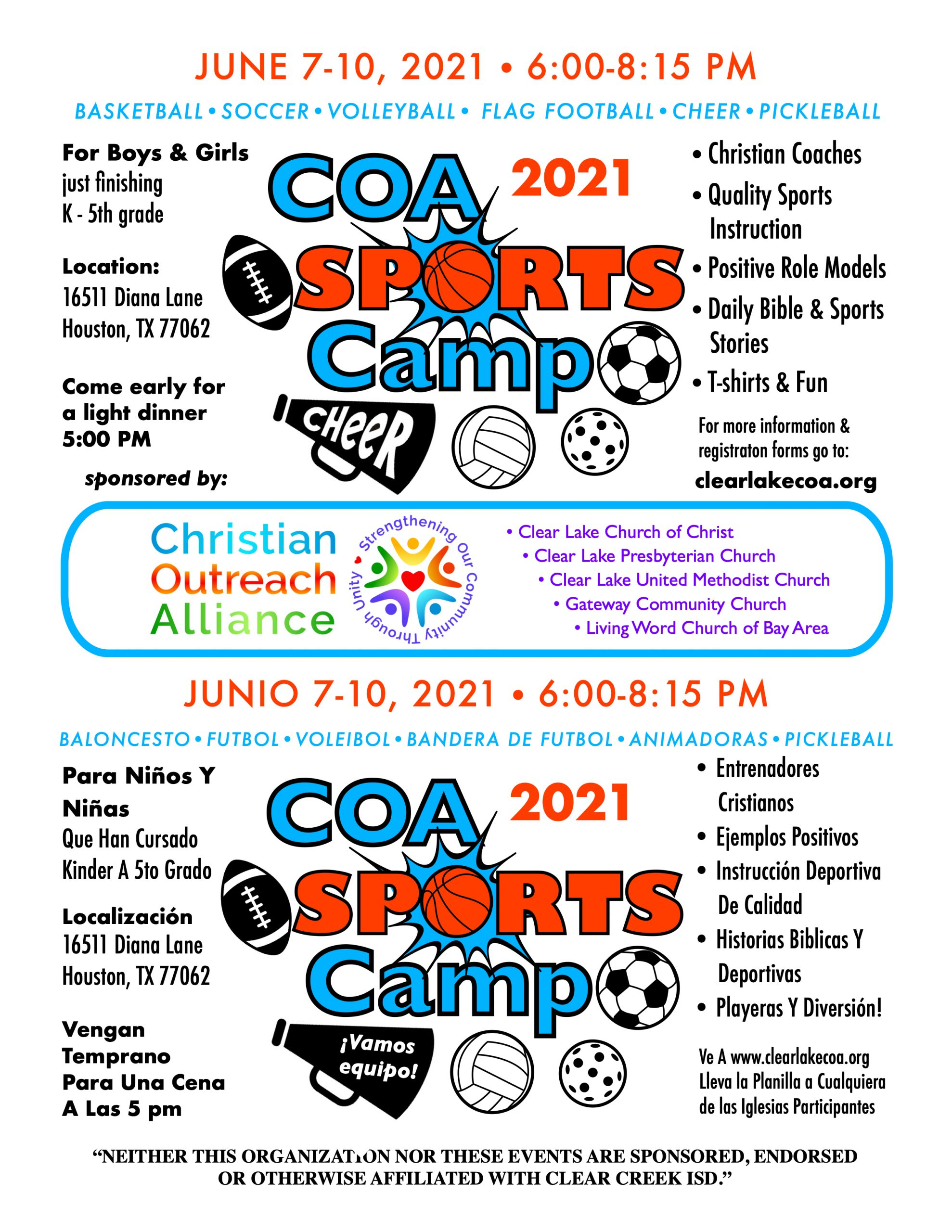 COA 2021 school Sports Camp flyer